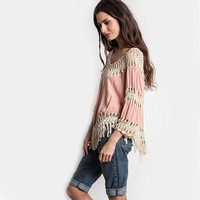 Summer Style Women Blouses V-Neck Lace Tassel Crochet Kimono Blouse Plus Size Shirt Tops