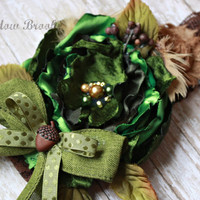 BABY HEADBAND, toddler, girls, nature, woodland, acorn, mustard pie, photo prop, green, outdoorsy, hunter, leaves, rustic, over the top,