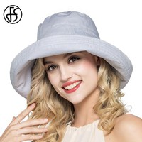 FS Summer Womens Cotton Wide Brim Sun Hats Foldable Casual Viseira Feminina Fashion Sun Visor Caps Bucket Hat Chapeu Feminino