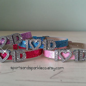 Personalized Bling One Direction 1D Rhinestone Bracelet with Heart Charm