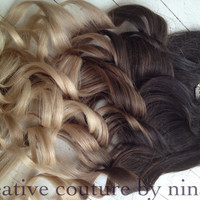 "Ombre Hair Extensions//DipDye//Dark Brown Hair and Wheat Blonde Fade//(7) Pieces//20""//Double Wefted/Ready To Ship"