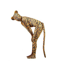 Yellow And Black Tiger Pattern Lycra Spandex Animal Masquerade Zentai Suit With Tail - $46.99