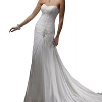 GEORGE BRIDE Slight Sweetheart Chiffon Chapel Train Beach Wedding Dress With Lace Bodice: Clothing