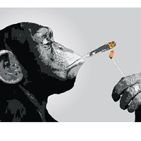 Monkey Smoking Poster
