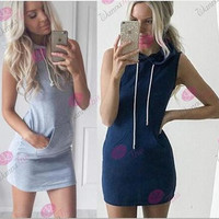 2016 Fashion Women Grey Hoody Sleeveless One Piece Dress _ 6098
