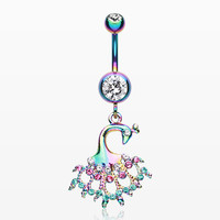 Colorline Peacock Dance Belly Button Ring