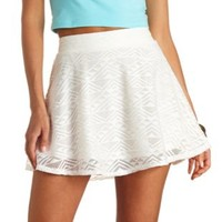 Aztec Lace High-Waisted Skater Skirt by Charlotte Russe - White
