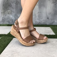 Arial Open Toe Cork Wedges in Tan