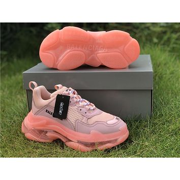 Balenciaga Triple S Clear Sole Light Pink Trainers Oversized Multimaterial Sneakers with air bubble inside the sole
