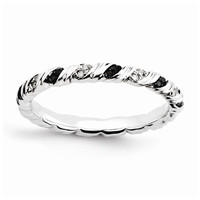 Sterling Silver Stackable Expressions Black & White Diamond Ring: RingSize: 7