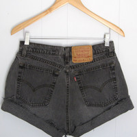 """Vintage Levi's High Waisted Cut Off Denim Shorts Jean Faded Distressed Black 29"""""""