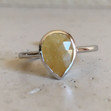 Silver Yellow Sapphire Ring- September Birthstone Ring- Promise Ring- Engagement Ring for Her- Stack Ring- Gemstone Ring- Sterling Silver