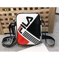 FILA Fashion Single Shoulder Bag with Printing and Splicing Colors White #4