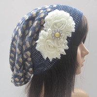 Blue Multi Colored Recycled Sweater Slouch Beanie With Ivory Chiffon Flowers With or Without Accents Winter Hats Sweater Hats Accessories