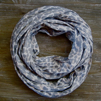Womens Leopard Scarf Infinity Scarf Double Loop Scarf White Grey Peach Trendy Circle Scarf Holiday Gift Ready to Ship