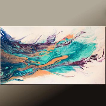 Abstract Canvas Art Painting 36x18 Contemporary Original by Destiny Womack - dWo -The Journey