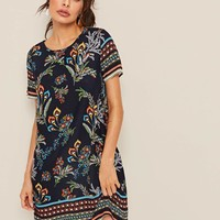 Mixed Print Keyhole Back Dress