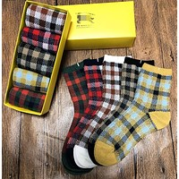 BURBERRY Popular Women Men Comfortable Plaid Breathable Pure Cotton Sport Socks