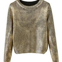 Golden Round Neck Long Sleeve Sweater - Choies.com