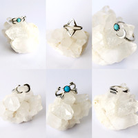 Turquoise Tribal Stacked Rings Set