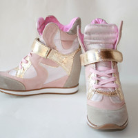 NEW HIGH TOP FASHION HIDDEN WEDGE METALLIC LACE UP VELCRO ANKLE SNEAKERS TRAINER