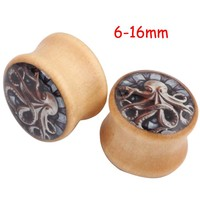 2Piece 6-16mm Saddle Spider Ear plug Bone Wooden Ear Plugs Concave Punk Octopus Animal Wood Flesh Tunnel Taper Stretcher