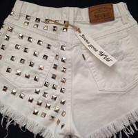 NEW High Waisted WHITE denim shorts with silver studs