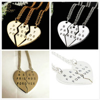 New Pieces Broken Heart Pendant Necklace Chic Best Friends Forever Necklace Fad