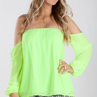 Candyspell — Candyspell Neon Off The Shoulder Blouse