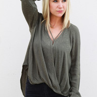 Twist Woven Front Blouse {Olive}