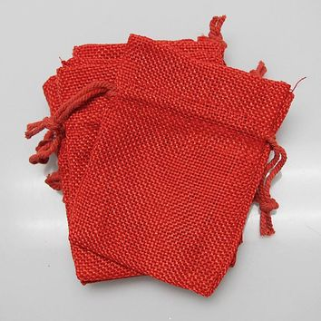 Faux Burlap Pouch Bags, 3-inch x 4-inch, 6-Piece, Red