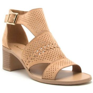 Toffee Perforated Cut Out Strappy Sandal