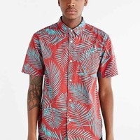Stussy Palm Short-Sleeve Button-Down Shirt- Red