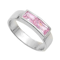 Sterling Silver Pink CZ Ring Size 1-5