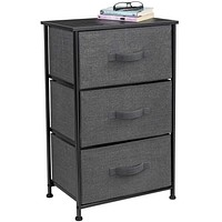 Sorbus Nightstand with 3 Drawers - Bedside Furniture & Accent End Table Storage Tower for Home, Bedroom Accessories, Office, College Dorm, Steel Frame, Wood Top, Easy Pull Fabric Bins (Black/Charcoal) Black/Charcoal