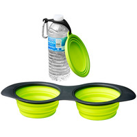 Evelots Silicone Collapsing Pet Bowl Bonus Bowl and Clip,Travel Food/Water Bowl