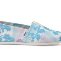TOMS Blue Palm Trees Men's Canvas Classics Slip-On Shoes,