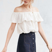 Kimchi Blue Ruffle Off-The-Shoulder Cropped Top - Urban Outfitters