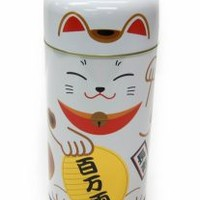 """Lucky Cat 6""""h Tea Canister in White (S2439) - Tea Accessories - Hong Kong Imports"""