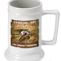 16oz. Ceramic Beer Stein - Cow Girl