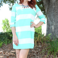 Who's That Lady Dress in Mint Stripes