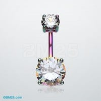 Classic Sparkle Prong Set Belly Ring