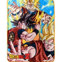 Dragon Ball Z Goku Saiyan Forms Throw Blanket