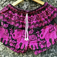 Shorts Elephant Printed Pattern Ethnic Bohemian style Boho Hobo For Beach Summer clothes Hippie Tribal Clothing festival Cute Women Men pink