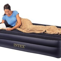 Intex Twin Pillow Rest Raised Air Bed Inflatable Airbed Mattress with Pump
