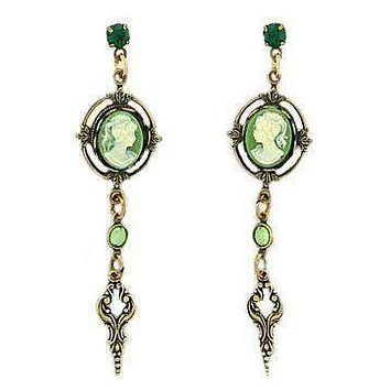 Green Cameo and Crystal Drop Earrings
