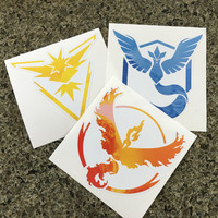 "Pokemon Go Team Mystic, Valor, Instinct Stickers - 3 Pack 5"" Wide"