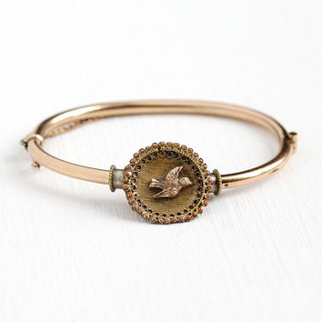 Victorian Swallow Bracelet - Antique 10k Rosy Yellow Gold Filled Bird Hinged Bangle - 1890s Vintage Symbolic GF Figural 6 Inch Jewelry