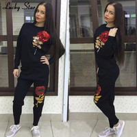 LUCKY STAR Sequins Rose Women Cotton Tracksuit 2PC/Set Top Brand Clothing Solid Sportwear Suit Woman Hoodies Costumes Sweatshirt
