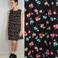 90s Daisy Dress Floral Med Large Soft Grunge Sleeveless Tank Little Black Dress Womens Vintage Clothing Tulip Rose 1990s A Line Girly